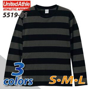 ボールドボーダーロングスリーブ Tシャツ ユナイテッドアスレ ホワイト ブラック チャコール ネイビー ボーダー シンプル スポーツ
