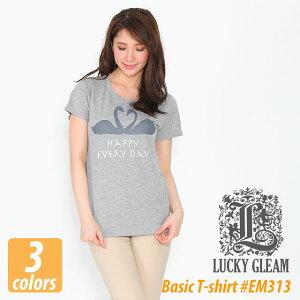 コーディネートの幅が広がるレディース ベーシック Tシャツ #EM412 LUCKY GLEAM プリント