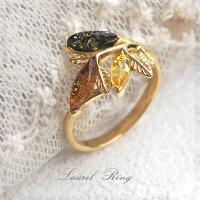 【天然琥珀】ゴールドリング・指輪こはくアクセサリー【Sランク】【ak2080】【K18ゴールドヴェルメイユ】【アンバー】【天然石・パワーストーン】ギフト贈り物にプレゼントにジュエリー【送料無料】