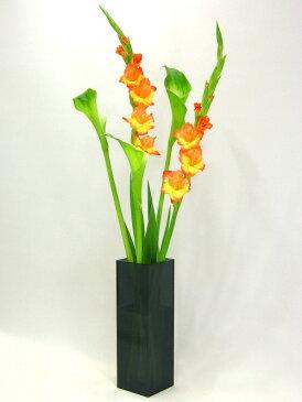 ベーシック/スモーク色(黒色透明)四角柱F型(高さ498mm×横幅・奥行144mm)アクリル・フラワーベース・花器・花瓶