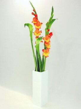 ベーシック/ホワイト色四角柱F型(高さ248mm×横幅・奥行168mm)アクリル・フラワーベース・花器・花瓶