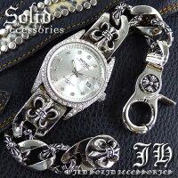 百合の紋章フレアシルバーcrホワイトブレスウォッチメンズブレスレット腕時計【あす楽対応】【ct51-ded01】【18020350】