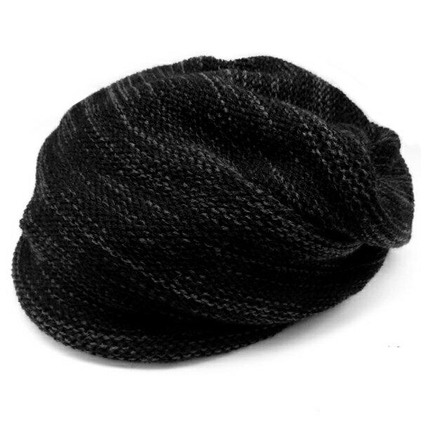 春夏小顔効果抜群のサマーニット帽が899円キャスケットメンズレディースニットキャップ帽子黒×グレーブラック灰コットン kami1