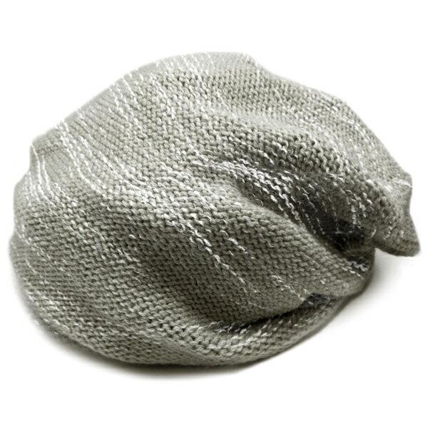 春夏小顔効果抜群のサマーニット帽が899円キャスケットメンズレディースニットキャップ帽子灰×ホワイトグレーコットン kami11