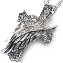 【n726】最高のデザイン フェザークロスsvネックレス シルバーCR クリア 天使の羽根 ケース  ...