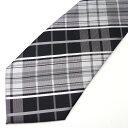 絶妙 7cm 幅 ネクタイ ブラック 黒 ホワイト 白 チェ