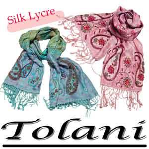 Tolani トラニ Silk-LycraScarf ストール/ビーズPink&Teal ストール・マフラー ジョ...