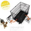 ペットケージSサイズ【UNIHABITAT】折りたたみ式折り畳み式黒ブラックドッグケージ犬猫うさぎウサギ小動物2ドアペットゲージドッグゲージケージ