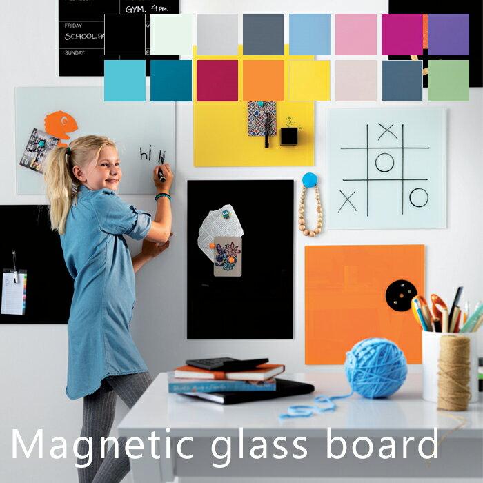 ホワイトボード おしゃれ 壁掛け 北欧 ガラス ガラスボード ボード 壁面 カラー 子供 おしゃれ マグネット 45×45cm ナガ NAGA Magnetic glass board オフィス キッチン 写真 メッセージ ホワイト ブラック ピンク ブルー ギフト