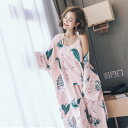 ルームウェア ガウン キャミソール パンツ 3点 セット 花柄ピンクリリーパジャマトップスゆったり服衣類かわいい