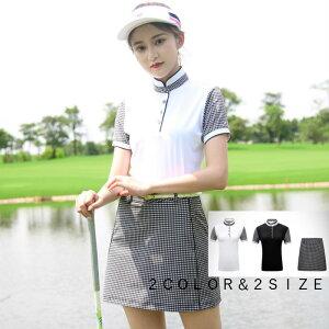 ゴルフウェア ポロシャツ 半袖 スカート レディース 可愛い 綺麗 ホワイト 白 黒 ブラック グレー 灰色 レディース ゴルフグッズ レディースゴルフウェア ゴルフ用品 可愛い 上下セット インナーパンツ付き ブラック 高級感 M L XL