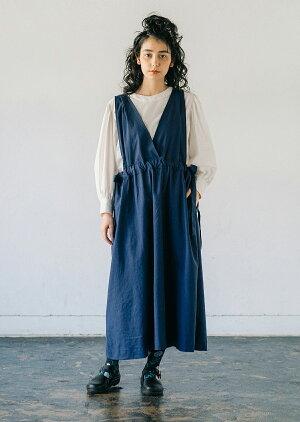 リネンワンピースサイドリボンネイビーウエストゴムALCEDOナチュラルファッションポケット付きマタニティ対応