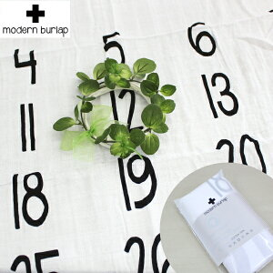 【名入れ刺繍可能】ModernBurlap(モダンバーラップ)カレンダーおくるみブランケット白黒スワドルストールSWADDLEオーガニックコットン名前刺繍出産祝いギフトプレゼント男の子女の子