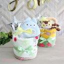 オムツケーキ トトロの1段オムツケーキ ネコバス ラトル スタジオジブリ 出産祝い 送料無料 即日発送 名入れタオル 刺繍可能 男の子 女の子 1歳 誕生日 パンパース メリーズ グーン60-80