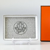 HERMES モザイク ヴァンキャトル プラチナ 035089P 16cm×12cm スクエアプレート 寿司 すしプレート