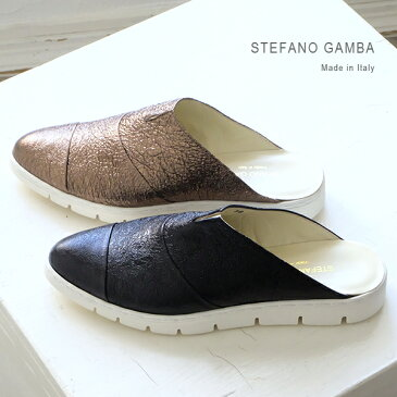 【SALE】STEFANO GAMBA ステファノガンバ レディース ミュール フラット メタリック 本革 インポートシューズ (gamba3822)