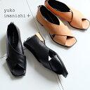 【SALE】yuko imanishi+ クロスサンダル レディース 本革 ファスナー付 履きやすい デザインヒール モード (yuko792014)