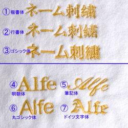 名入れ刺繍の書体は7種類です