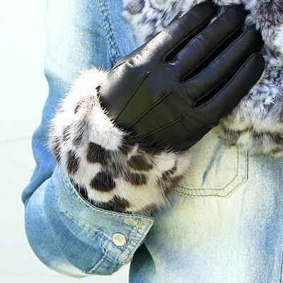 手袋 レディース 革 レザーグローブワイドミンクファー(毛皮)トリミング(チンチラ・フォックス・...
