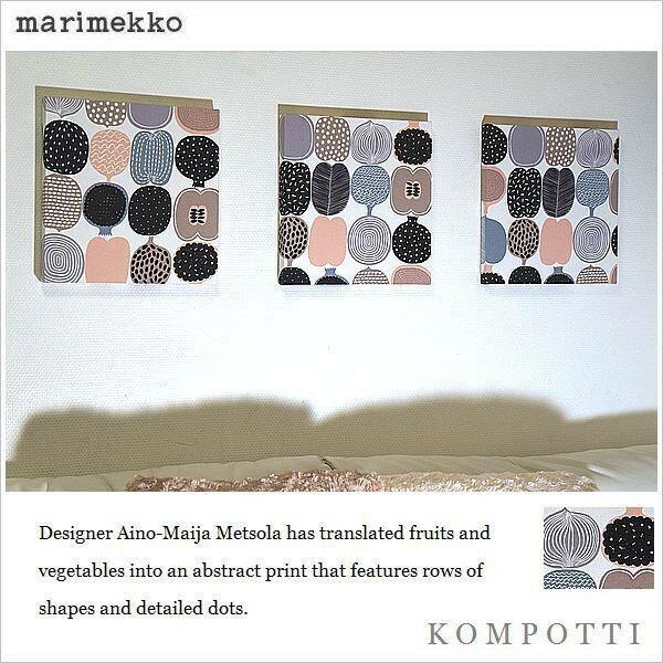 ファブリックパネル アリス marimekko KOMPOTTI 30×30cm 3枚組 マリメッコ コンポッティ リビング キッチン 店舗 簡単設置