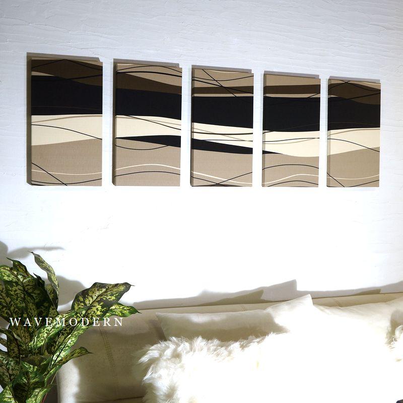 壁掛け 壁飾り 設置簡単 ファブリックパネル アリス WAVE MODREN 40×22cm 5枚セット 迫力の5連 ファブリック パネル 5連続 モダン 布 ボード WAVEMODREN WAVE MODREN アートパネル インテリアパネル