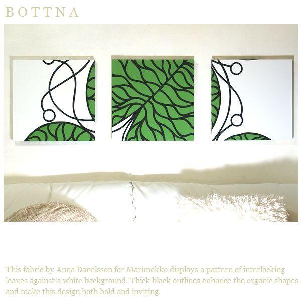 ファブリックパネル アリス marimekko BOTTNA 40×40cm 3枚組 グリーン マリメッコ ボットナ 緑 リビング 店舗 会場 プレゼント