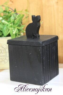 猫 ねこ ネコ キャット 好きならおすすめウッドキャニスター ネコ L