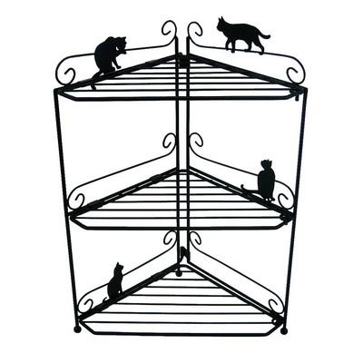 猫 ねこ ネコ キャット 好きならおすすめ【新商品】 コーナーラック ネコ ブラック