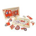 【ヨーロッパ木のおもちゃ】 エド・インター 木製の形合わせパズル『消防車』Go! Go! Fire truck [知育玩具木のおもちゃ [エドインター]ヨーロッパ安全基準CE取得[おむつケーキと同梱で送料無料]