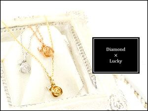 選べる3カラー0.01ctダイヤモンドK10プチローズネックレス