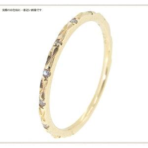 0.03ctダイヤモンドK10YG洋彫り細身リング