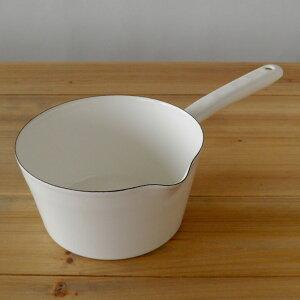 ホーローミルクパン ホワイト シンプル ナチュラル ハンドル クッキング ヒーター