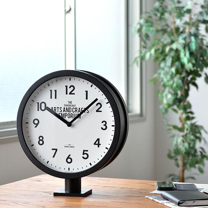 掛け時計 両面時計 ロベストン Robeston CL-2138 INTERFORM 壁掛け時計 置き時計 掛け置き兼用 ブラック スイープムーブメント インダストリアル インターフォルム おしゃれ 大きい 業務用 ダブルフェイス ギフト 新築祝い