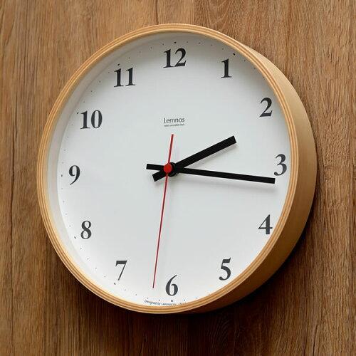 掛け時計 電波時計 Lemnos レムノス Plywood clock プライウッド クロック LC10-21W 電波 北欧 楽...