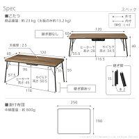 継ぎ脚付き古材風アイアンこたつテーブル〔ブルックハイタイプ〕120x60cmヘリンボーン織り掛布団2点セット