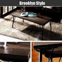 古材風アイアンこたつテーブル〔ブルック〕100x50cmペットの毛や汚れに強いこたつ布団2点セット
