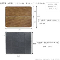 木目調ホットカーペット・カバー〔ウッディ〕3畳用(250x198)+ホットカーペット本体2点セット