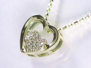 K18YGダイヤペンダントネックレス