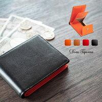 牛革二つ折り財布ボックス型小銭入れカード入れメンズDomTepornaItalyブランドコンパクト送料無料