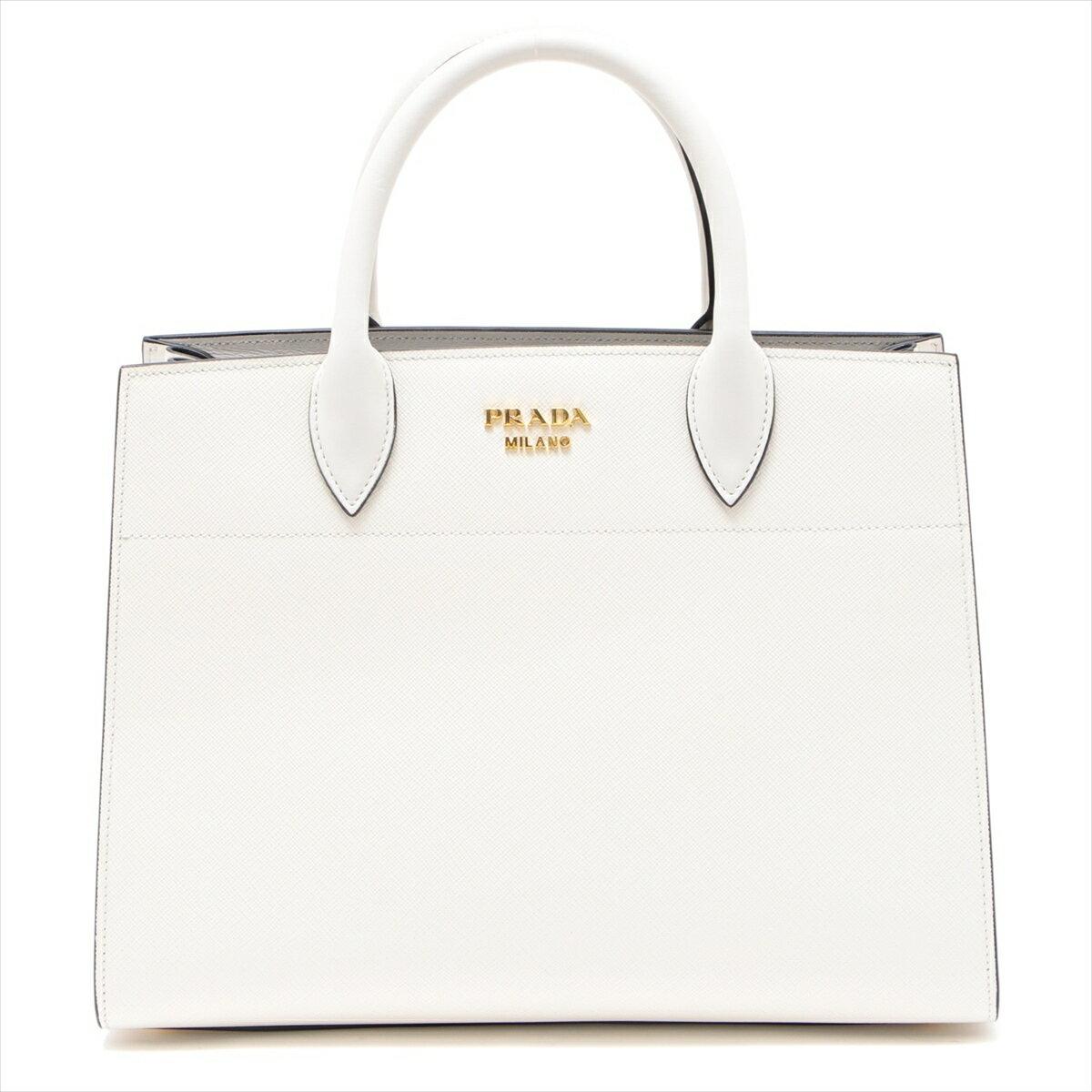 [Used] Prada Bibliotheque Saffiano 2WAY Handbag White 1BA049