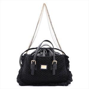 [Used] Dolce&Gabbana Knit x Leather 2WAY Handbag Black