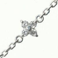 ブレスレットダイヤモンドk10ホワイトゴールドフラワー花