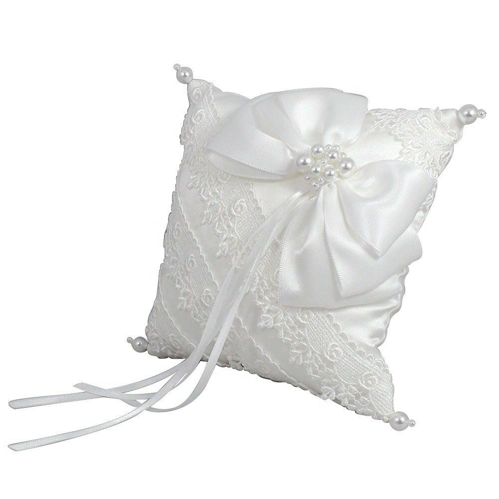 リングピロー リボン 小花のモチーフレース ホワイト 大切なセレモニーに 【化粧箱】 キャッシュレス ポイント還元