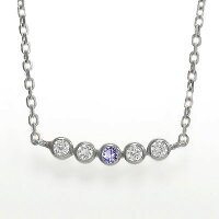 18金タンザナイトネックレス12月の誕生石ダイヤモンドペンダント