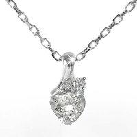 プラチナハートネックレスダイヤモンド流れ星一粒ペンダントチャーム