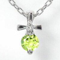 ペリドットクロス十字架ネックレスプラチナ900優しいペンダントチャーム
