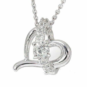 ダイヤモンド ネックレス k18ホワイトゴールド オープンハート流れ星 スター チャーム レディース  誕生日 2017 記念日 贈り物 母の日 プレゼントギフト エトワール 4月 誕生石