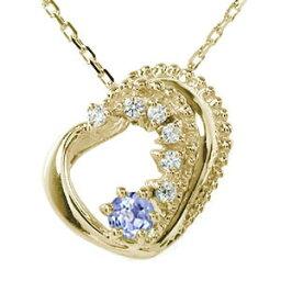 ハート 12月 誕生石 10金 ネックレス タンザナイト 美しい モチーフ ダイヤモンド カラーストーン プチペンダント チャーム送料無料