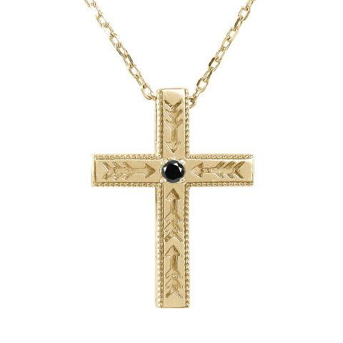 ネックレス インディアン 10金 ネックレス ダイヤモンド ブラックダイヤモンド クロス 十字架 弓矢 矢 アロー メンズ贈り物 k10 10k ゴールド ペンダント ジュエリー 送料無料 キャッシュレス ポイント還元