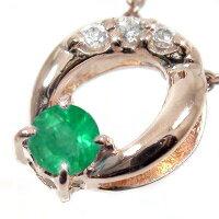 エメラルドネックレスk10ピンクゴールドオーバルダイヤモンド
